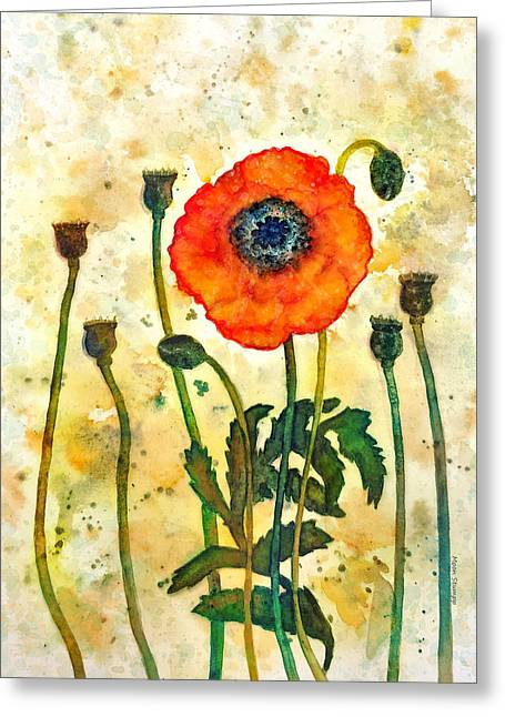 Midsummer Poppy Greeting Card by Moon Stumpp