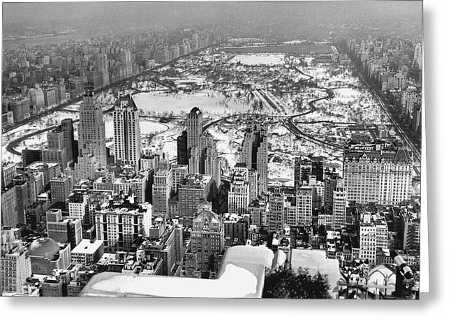Midtown And Central Park View Greeting Card by Underwood Archives