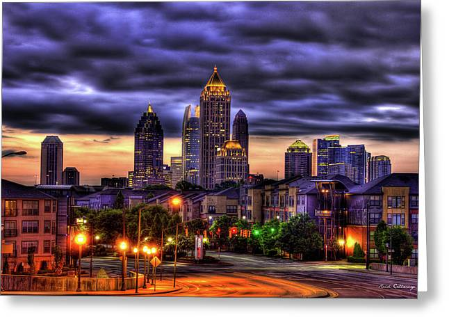 Greeting Card featuring the photograph Midtown Atlanta Towers Over Atlantic Commons by Reid Callaway