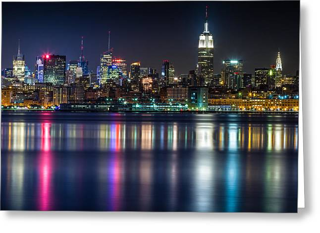 New York Night Greeting Cards - Midtown Manhattan from Jersey City at Night Greeting Card by Val Black Russian Tourchin