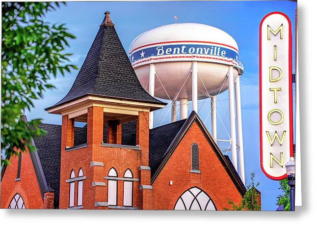 Midtown Neon On The Bentonville Arkansas Square Greeting Card by Gregory Ballos