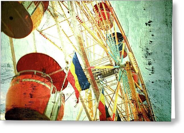 Textured Photograph Greeting Cards - Midway Spin Greeting Card by Toni Hopper
