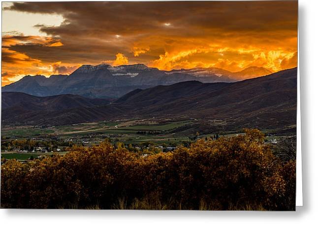 Midway Utah Sunset Greeting Card by TL  Mair