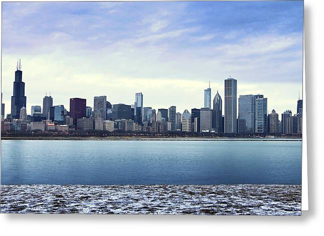 Frost Tower Greeting Cards - Midwinter Skyline Greeting Card by Geobert Palencia