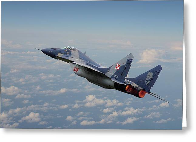 Greeting Card featuring the digital art Mig 29 - Polish Fulcrum Dedication by Pat Speirs