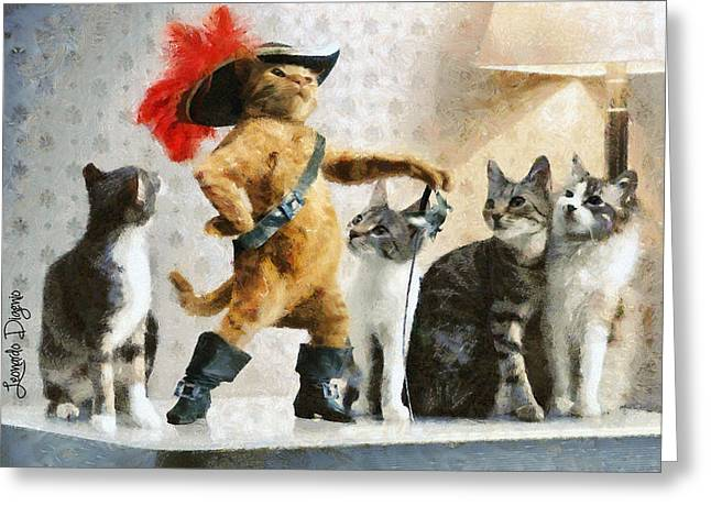 Mighty Cat With Boots - Da Greeting Card