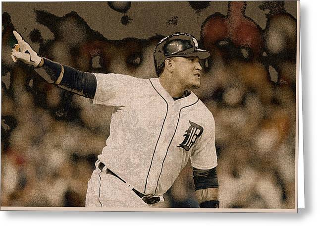 Miguel Cabrera Detroit Tigers Painting Greeting Card by Design Turnpike