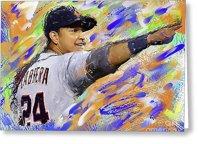 Miguel Cabrera Pointing Greeting Card by Donald Pavlica