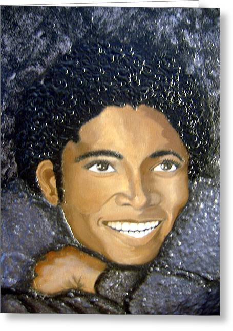 Keenya Woods Mixed Media Greeting Cards - Mike- king of pop Greeting Card by Keenya  Woods