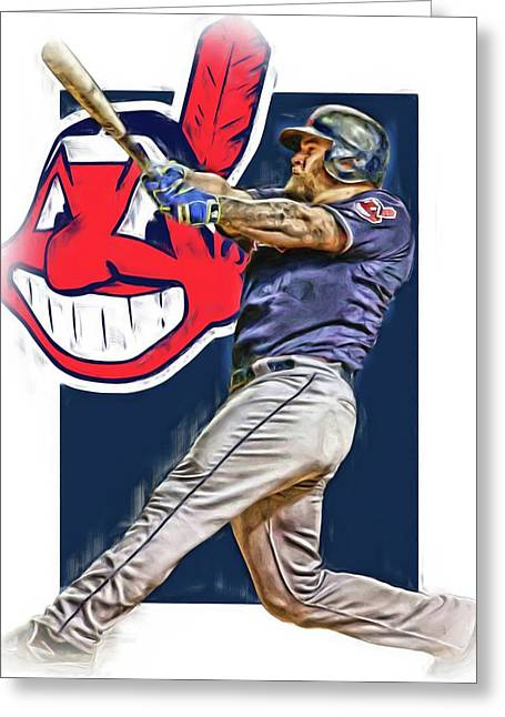 Mike Napoli Cleveland Indians Oil Art 2 Greeting Card
