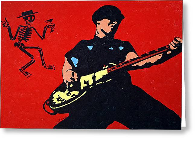 Distortion Paintings Greeting Cards - Mike Ness Greeting Card by Steven Sloan