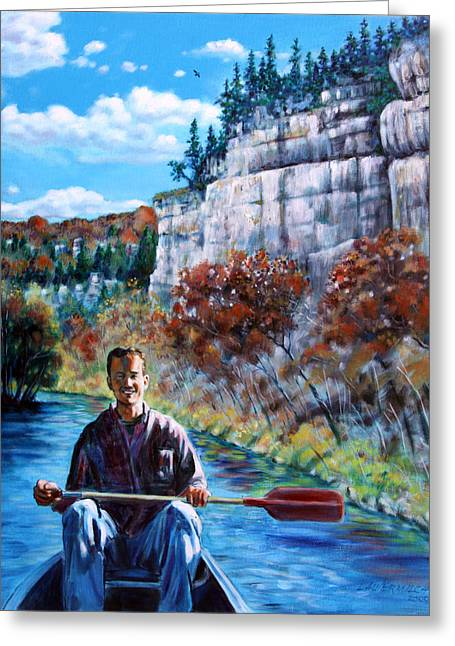 Mike On Float Trip Greeting Card
