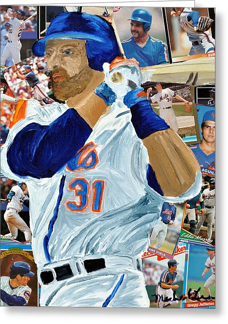Mike Piazza Greeting Card by Michael Lee