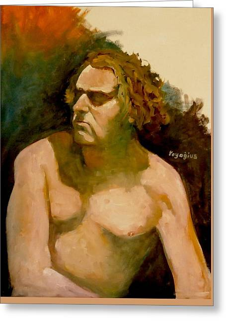 Greeting Card featuring the painting Mike. by Ray Agius
