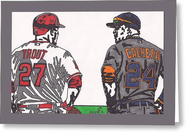 Mike Trout And Miguel Cabrera Greeting Card by Jeremiah Colley