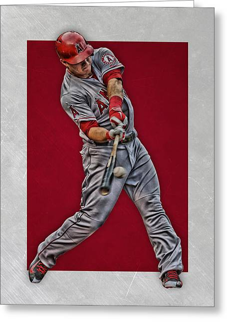 Greeting Card featuring the mixed media Mike Trout Los Angeles Angels Art 1 by Joe Hamilton