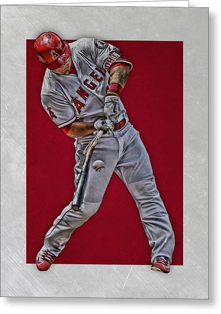 Greeting Card featuring the mixed media Mike Trout Los Angeles Angels Art 2 by Joe Hamilton