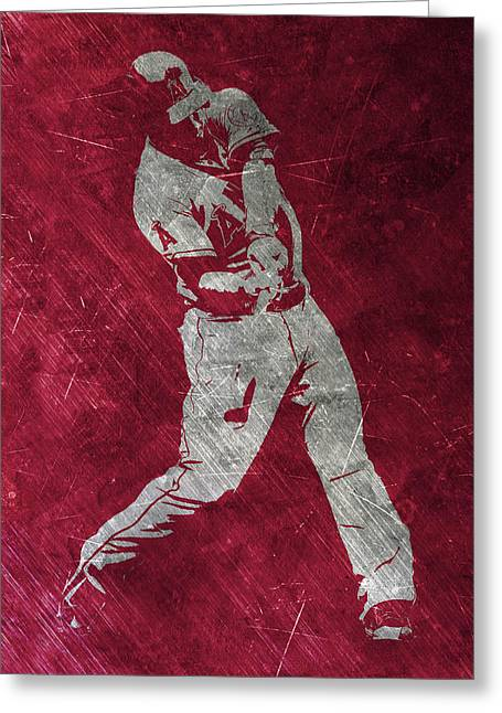 Mike Trout Los Angeles Angels Art Greeting Card by Joe Hamilton