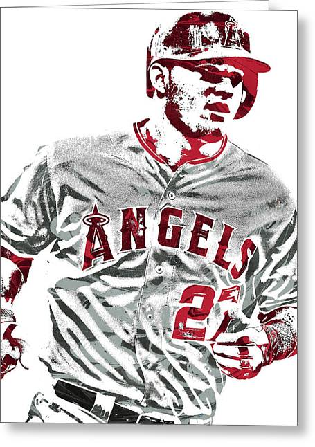 Mike Trout Los Angeles Angels Pixel Art 6 Greeting Card