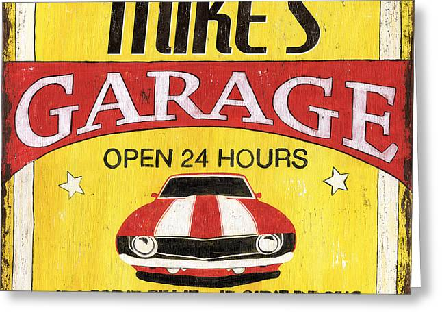 Mike's Garage Greeting Card by Debbie DeWitt