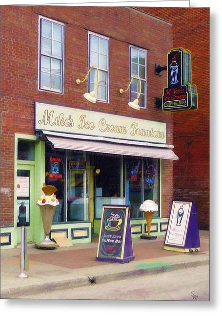 Mike's Ice Cream Fountain Greeting Card by Sandy MacGowan