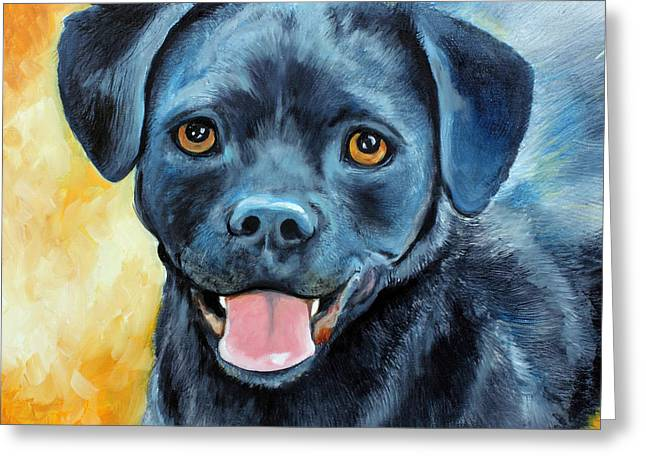 Puggle Greeting Cards - Mikey Greeting Card by Marcia Baldwin