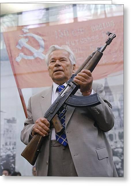 Mikhail Kalashnikov, Russian Gun Designer Greeting Card by Ria Novosti