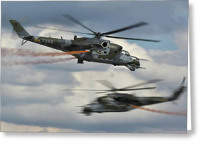 Greeting Card featuring the photograph Mil Mi-24v Hind E by Tim Beach