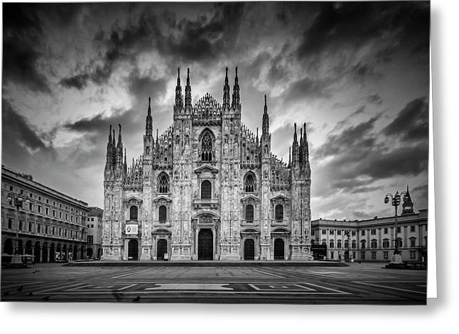 Milan Cathedral Santa Maria Nascente Monochrome Greeting Card