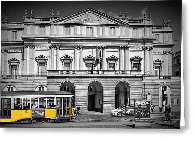 Milan Teatro Alla Scala And Tram Greeting Card