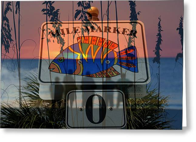 Greeting Card featuring the photograph Mile Marker 0 Sunset by David Lee Thompson