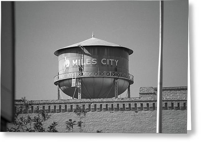 Miles City, Montana - Water Tower Bw Greeting Card by Frank Romeo