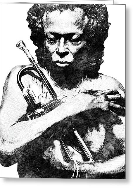 Miles Davis Bw  Greeting Card by Mihaela Pater