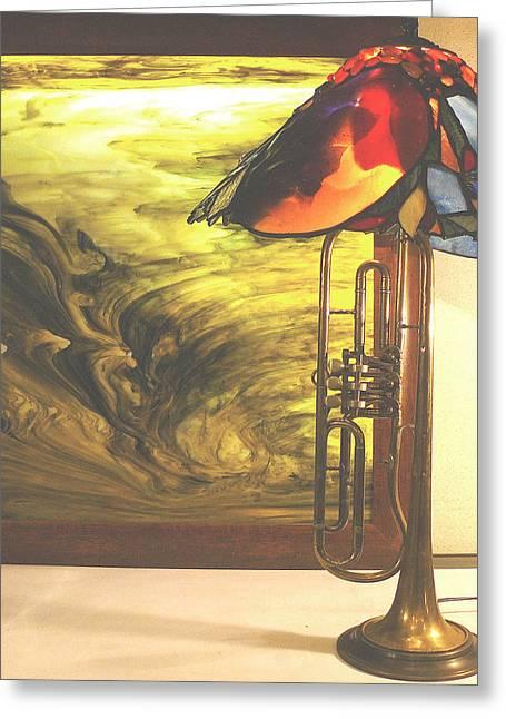 Miles Davis Lamp And Genesis Backlit Glassart Picture  Greeting Card