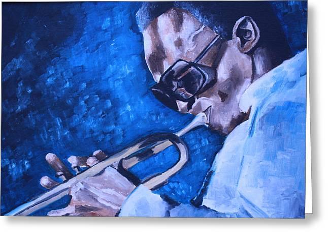 Miles Davis Portrait Greeting Card by Mikayla Ziegler