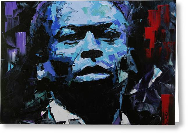 Greeting Card featuring the painting Miles Davis by Richard Day