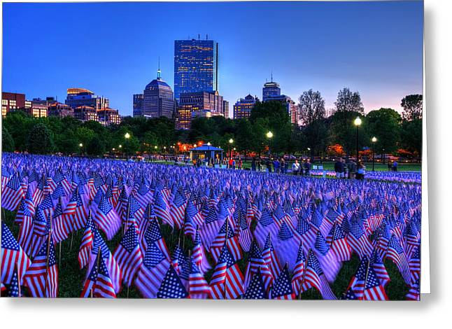 Military Heroes Garden Of Flags - Boston Common Greeting Card