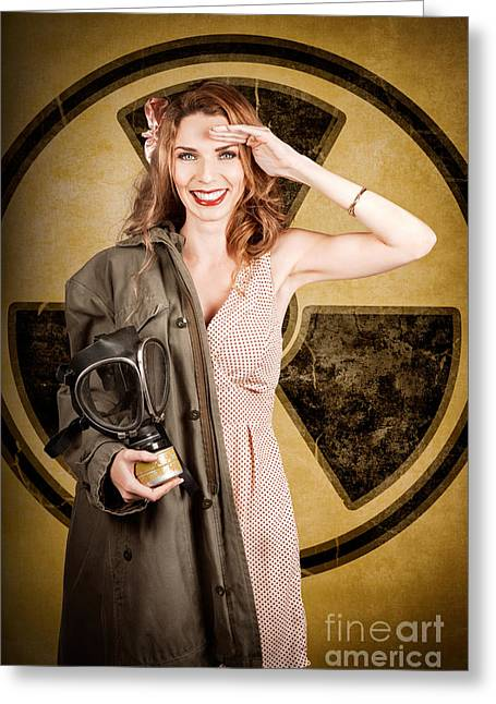Military Pin-up Woman. Atomic Female Bombshell Greeting Card by Jorgo Photography - Wall Art Gallery