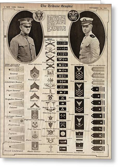 Greeting Card featuring the photograph Military Rank Identification 1917 by Daniel Hagerman