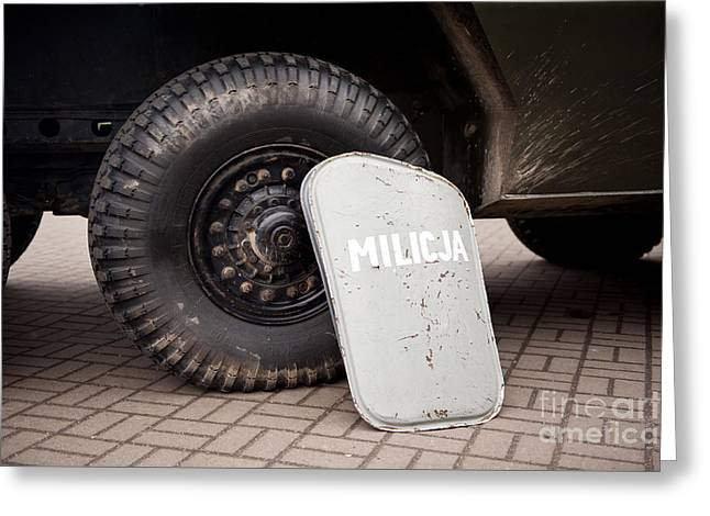Militia Shield And Tire Of Combat Greeting Card