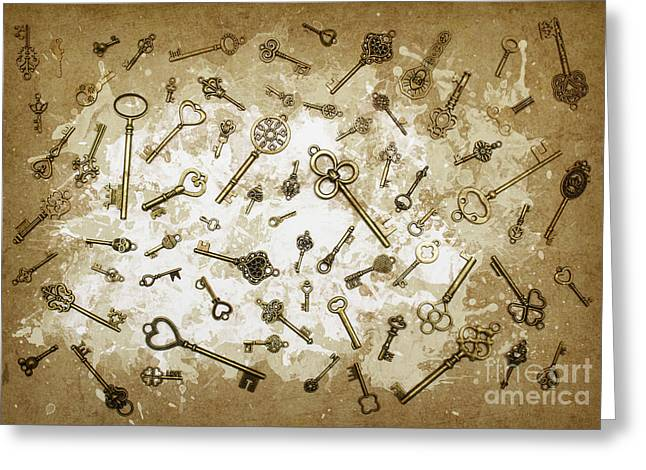 Milk And Keys Abstract Still Life Greeting Card by Jorgo Photography - Wall Art Gallery
