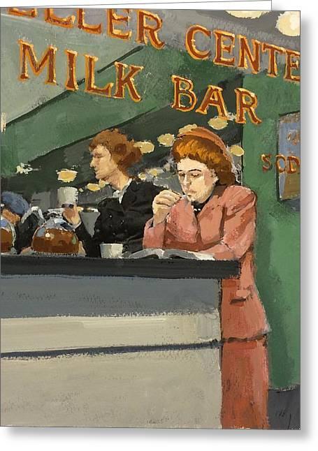 Milk Bar Greeting Card by H James Hoff