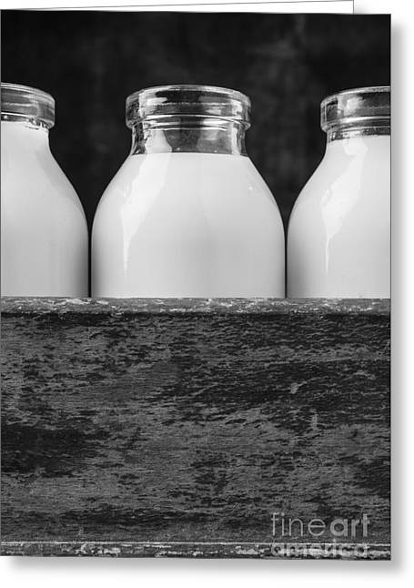Milk Bottles 3 Black And White Greeting Card by Edward Fielding