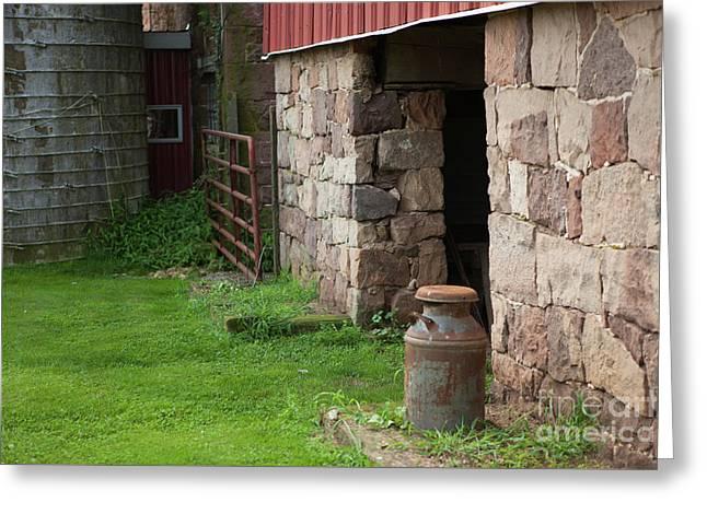 Milk Can At Stone Barn Greeting Card