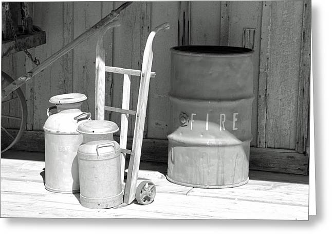 Milk Cans And Fire Barrel Greeting Card by Troy Montemayor
