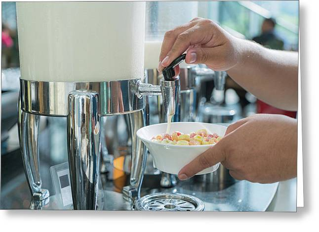 Milk For Drink In Lunch Buffet In Hotal Greeting Card by Anek Suwannaphoom