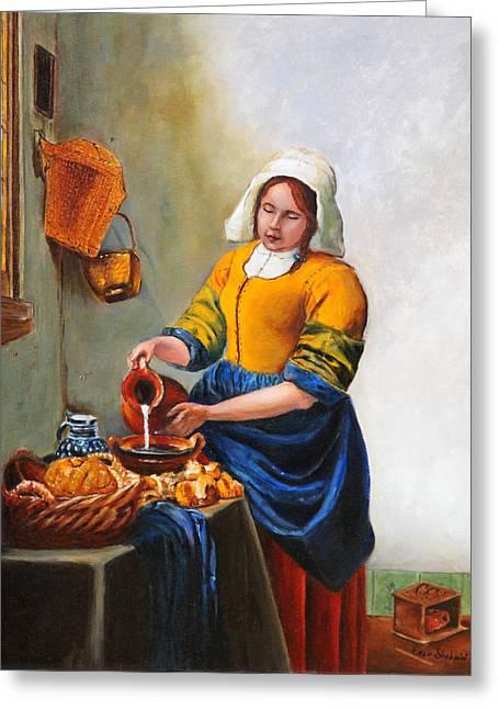 Milk Maid After Vermeer Greeting Card by Enzie Shahmiri