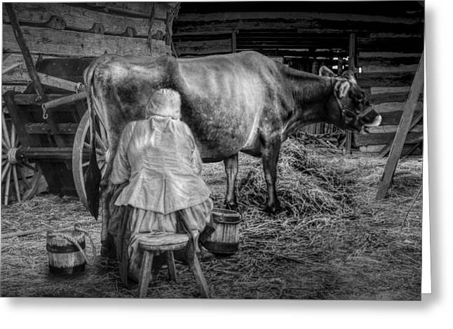 Milk Maid Milking A Cow In The Barn In Black And White Greeting Card by Randall Nyhof