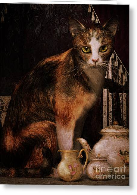 Milk No Sugar Calico Cat Greeting Card