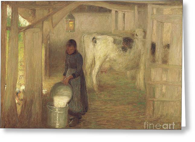 Milking Time  Early Morn Greeting Card